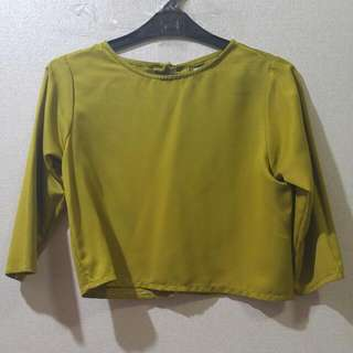 Mustard Crop Top With Open Back