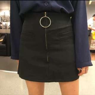 拉鍊高腰顯瘦黑包裙🖤