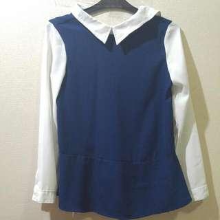White Blue Collar Top