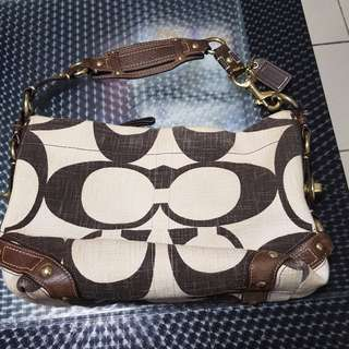 Coach Authentic Khaki Brown Signature Carly Hobo Shoulderbag