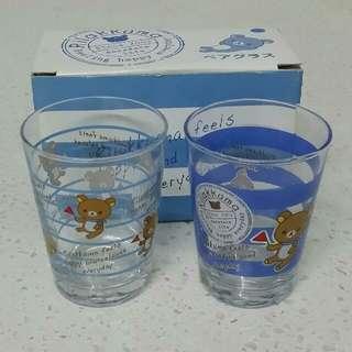 全新鬆弛熊玻璃杯 一set2隻