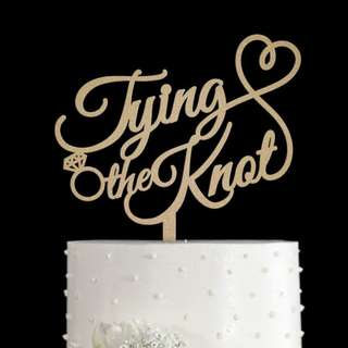 Tying the Knot bronze acrylic cake topper