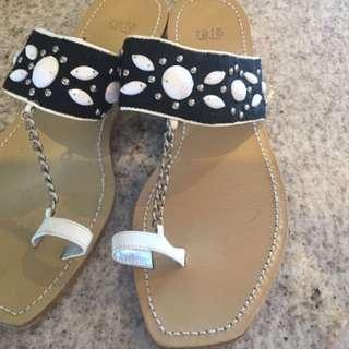 Sandals Leather Designer With Shells