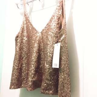 Rose Gold Sequin Tank Top