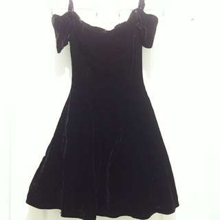 Vintage Velvet Off-Shoulder Dress