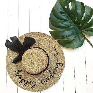 Custom Topi Pantai Summer Beach Straw Hat