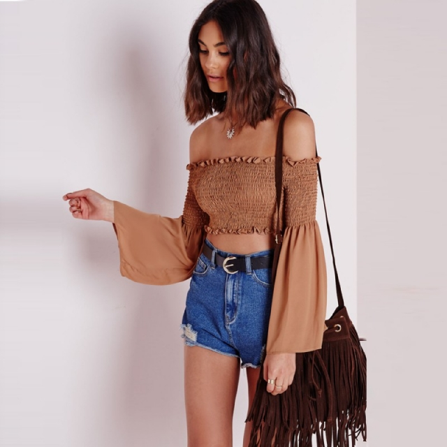 868305a16bb12 3 Colours) Bohemian Ruffled Off Shoulder Crop Top With Bell Sleeves ...