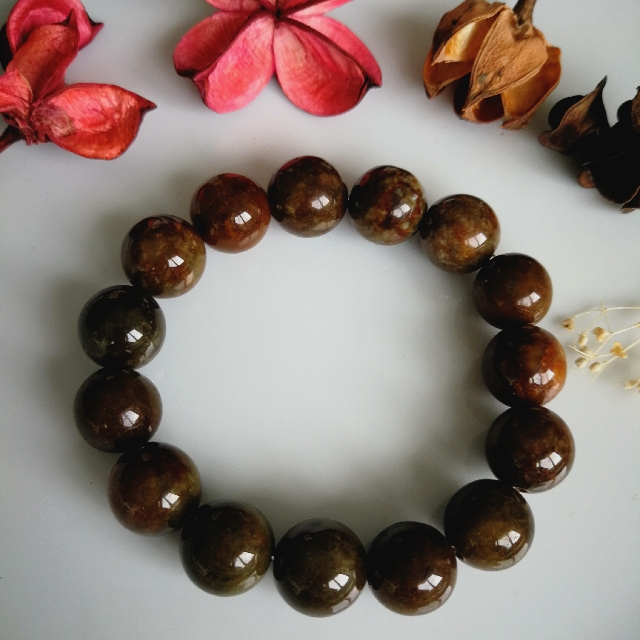 Jadeite Jade Dark Brown 14mm Beaded