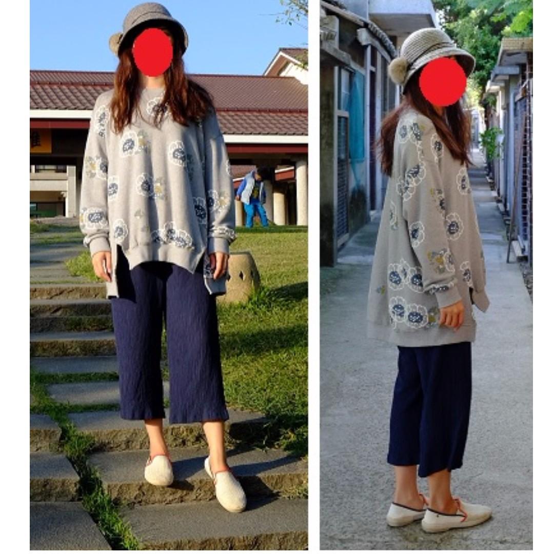 深藍藏青皺褶.皺摺八分褲/8分褲.合身寬褲