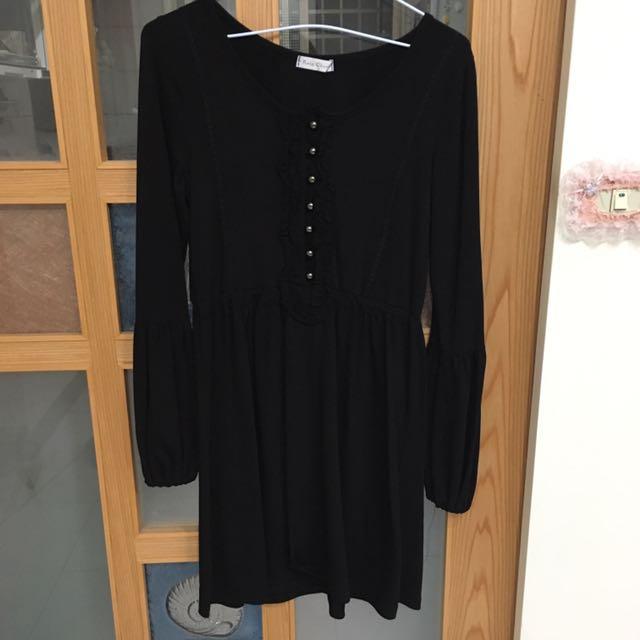 黑色棉質宮廷小洋裝