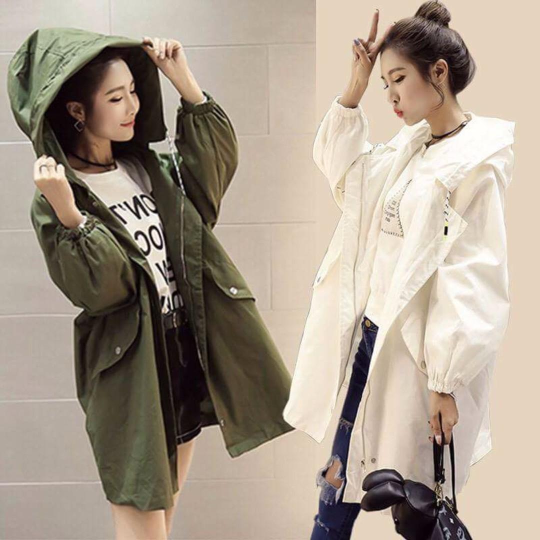 【全新】韓版薄款寬鬆風衣 軍綠色