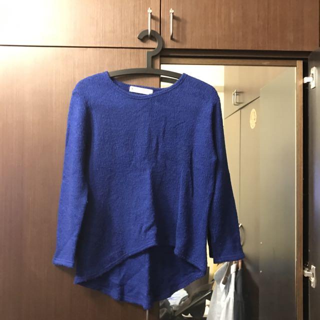寶藍色前短後長針織上衣