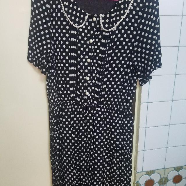 復古點點圓領洋裝