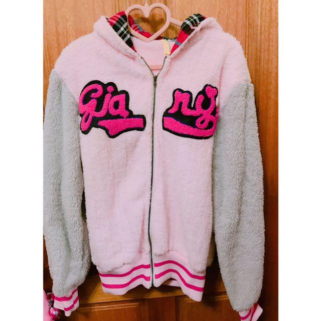 (超保暖)粉紅毛絨棒球外套