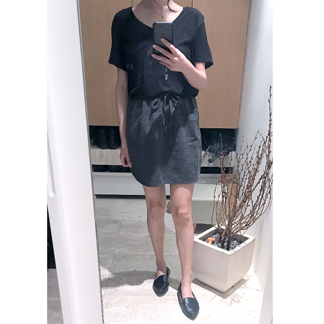 二手 簡約側開岔綁帶短裙 深灰