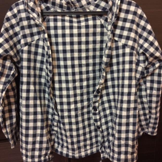 黑白格子襯衫 外套 罩衫