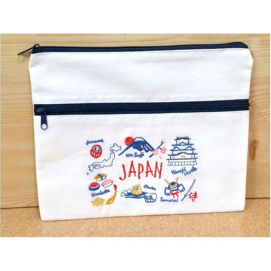 白棉布刺繡雙層拉鍊小物袋 日本帶回 三款可選