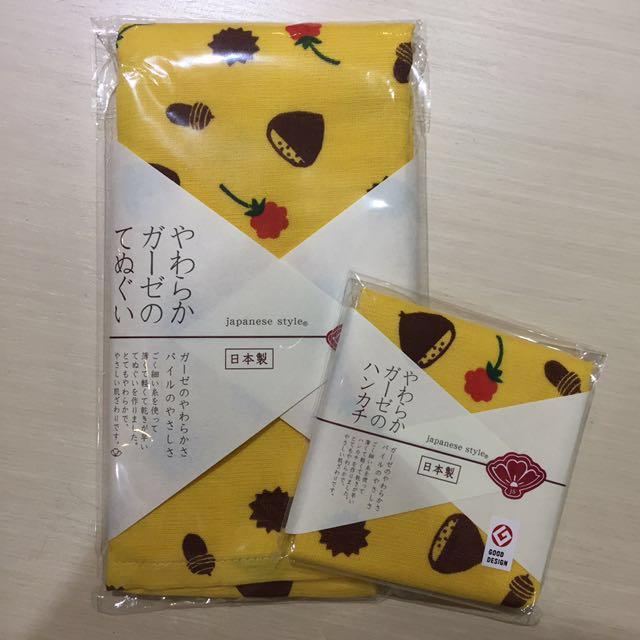 日本製 毛巾手帕巾 六層紗 栗子 兔子現貨