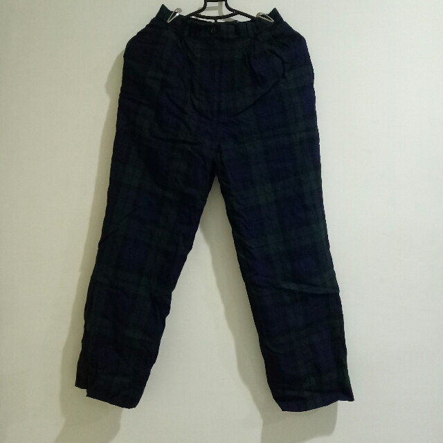 復古 古著 文青 格紋褲 格子褲 深藍綠格紋 直筒 長褲