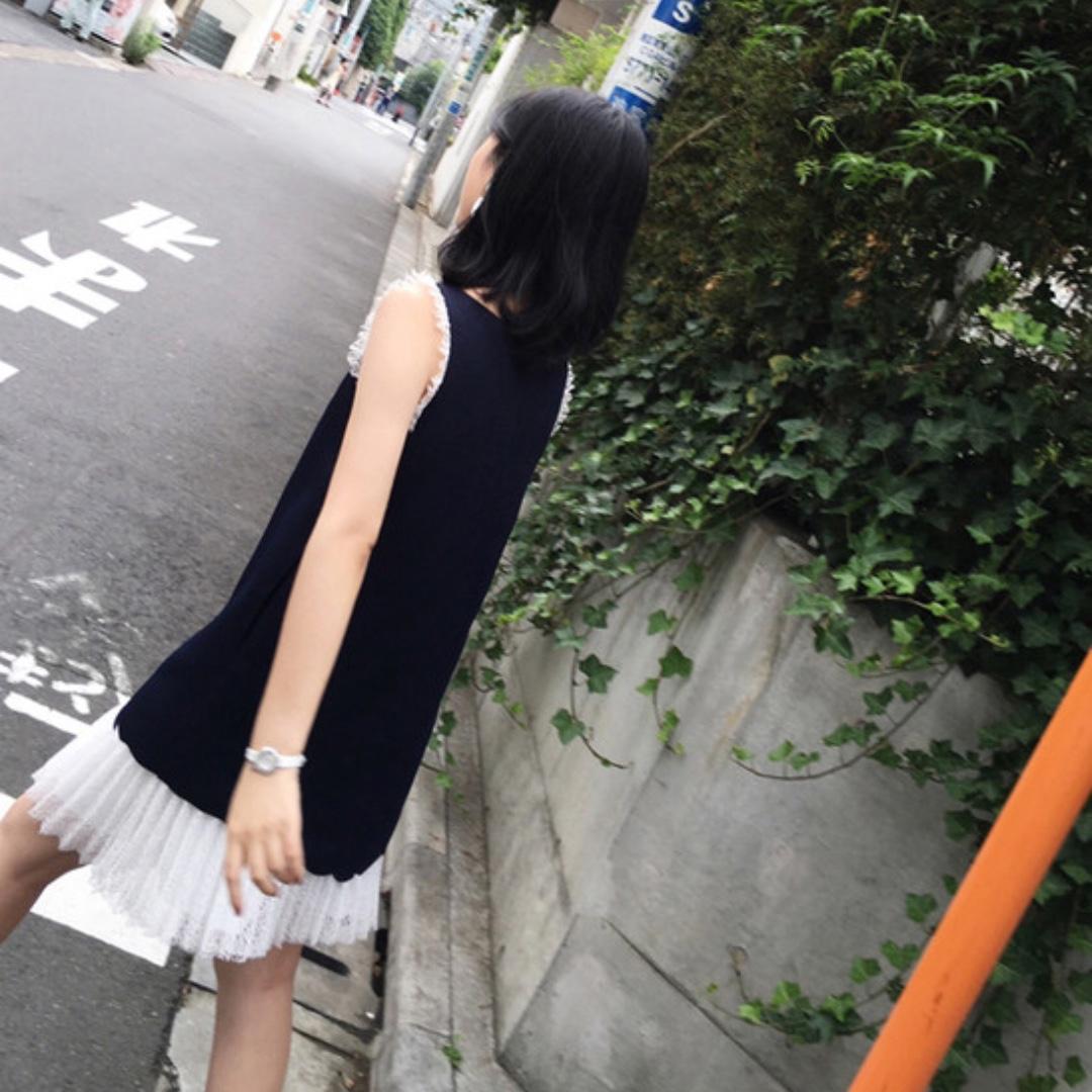 (全新轉售) 氣質不規則拼接紗洋裝 XS 深藍