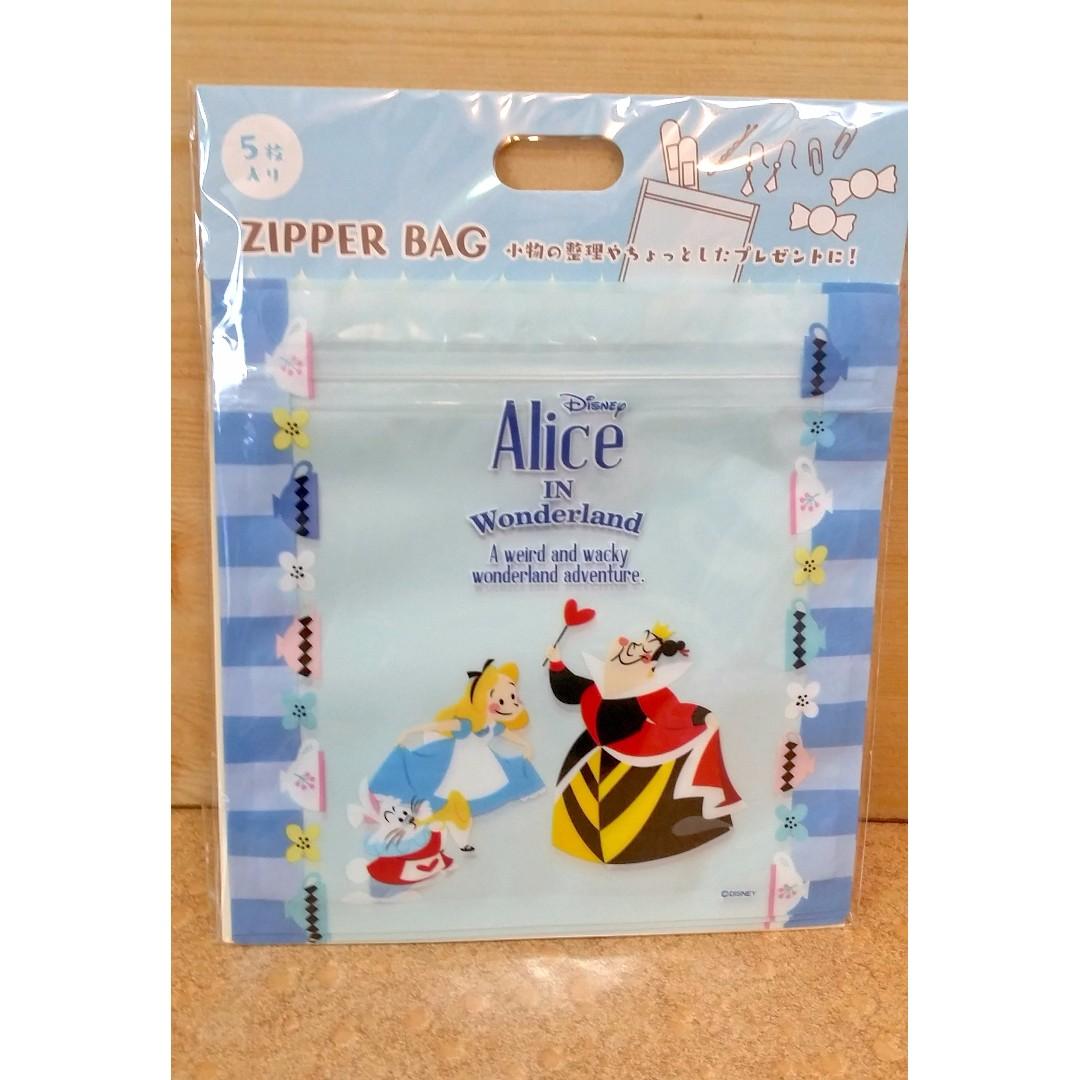 日本迪士尼正品 Alice愛麗絲Q版 密封夾鏈袋 5枚