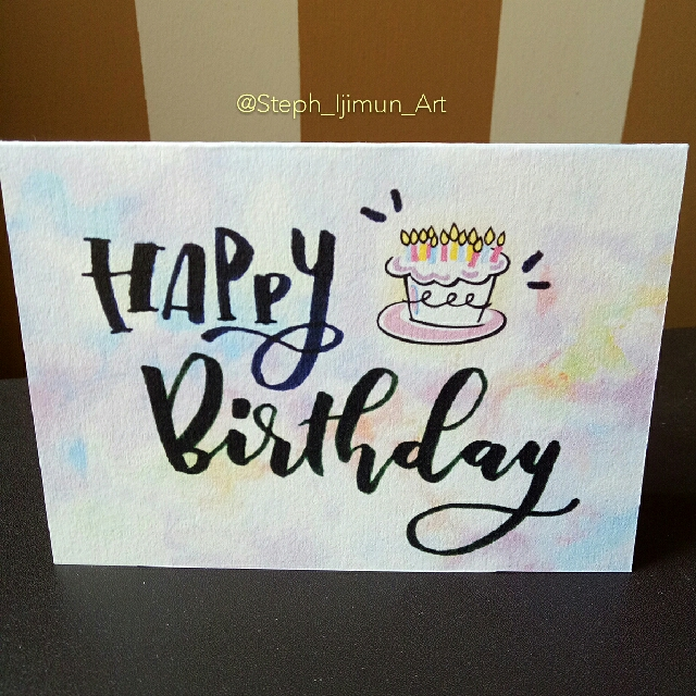 HAPPY BIRTHDAY Card Hand Lettering Calligraphy Own Design