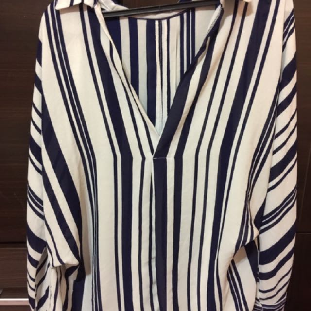 韓版 藍條紋v領 雪紡紗 襯衫