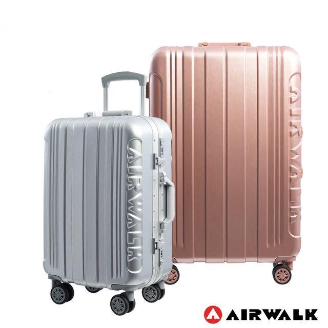 🗯網路最低價免運費【AIRWALK LUGGAGE】金屬森林 木絲鋁框復古壓扣行李箱 (3色)20吋 24吋 28吋