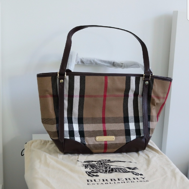 Authentic Burbery Bridle Black House Check Tote