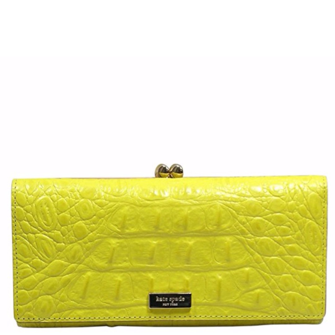 Authentic Kate Spade Yellow Crocodile Leather Wallet