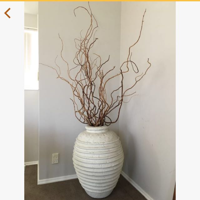BEAUTIFUL LARGE OFF WHITE VASE WITH BRANCHES!