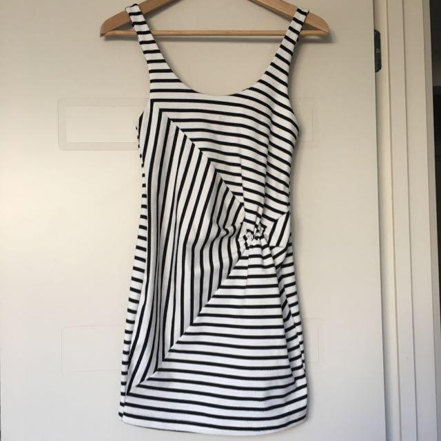 Bec & Bridge Black & White Striped Bodycon Dress Size 8