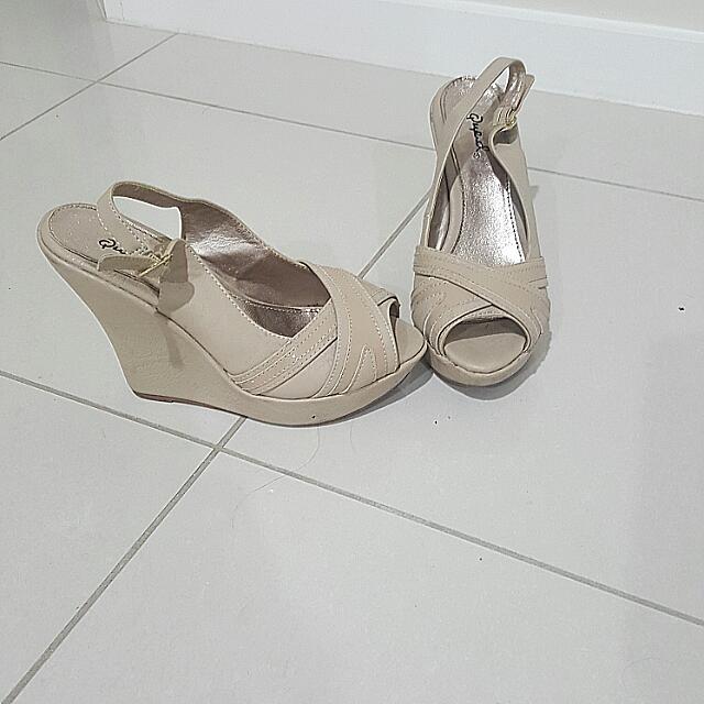 Beige Wedge Heels Size 7