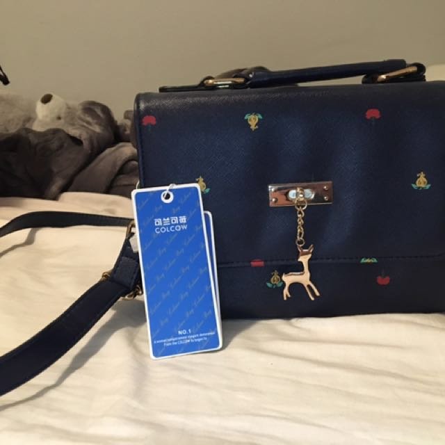 Blue Faux Leather Small Crossbody Bag