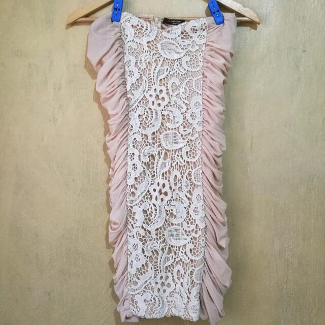 Cinderella Women pink blush & white lace dress