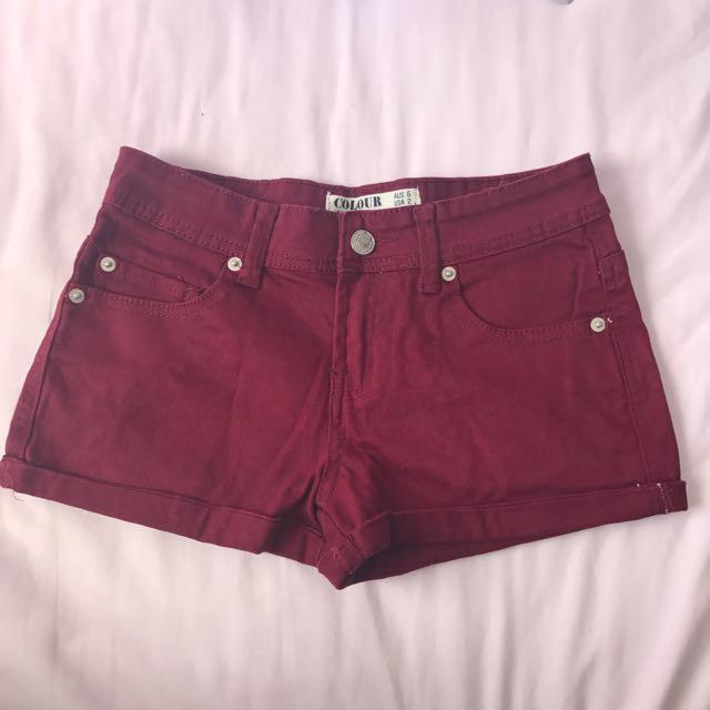Cotton On Maroon Shorts Sze 6