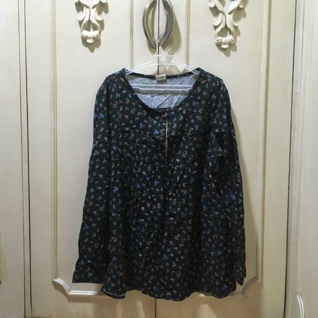 Dark Blue Floral Pullover