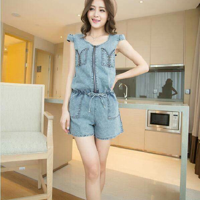 Denim Zipper Jumpshort
