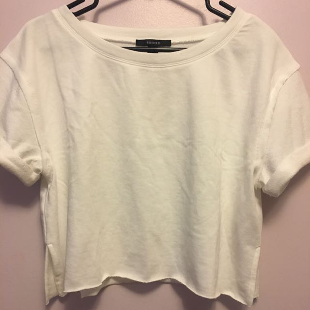 F21 Cropped French Terry Top