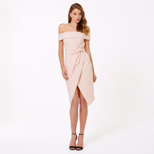 Forever New - Bianca Bardot Tie Waist Dress in Cosmetic Nude