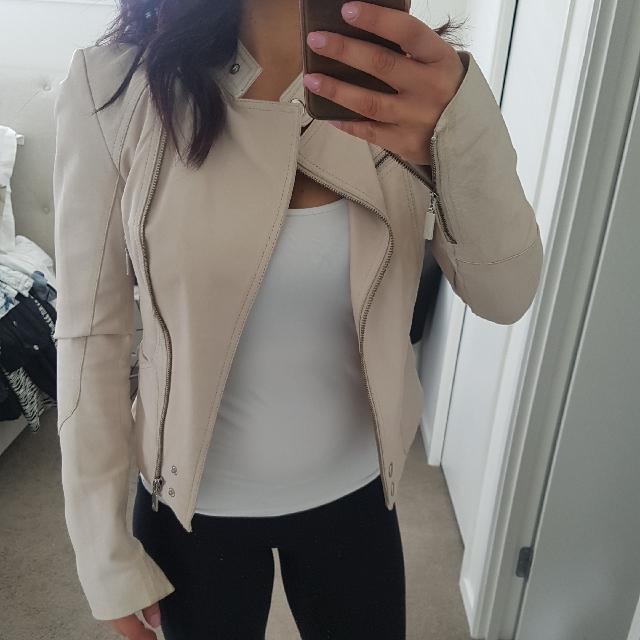 Forever New Cream Leather Jacket Size 6