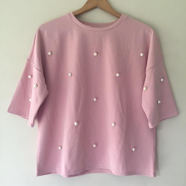 Forme Pink Top with Pearl Accents