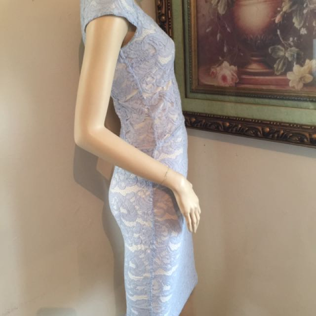Fresh Soul Blue Lace/cream Top And Skirt Size 8
