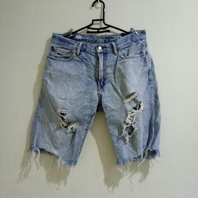Gap 1969牛仔褲 正老品 正版 手刷破褲 五分短褲 復古 古著 寬鬆短褲 32腰