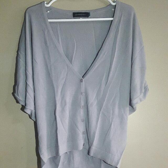 Giordano Ladies Gray V-neck Style Cardigan