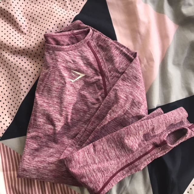 Gymshark Berry/burgundy Seamless Long Sleeve Top M