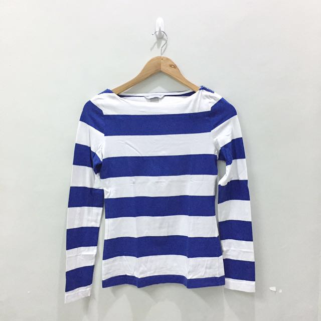 H&M Boatneck Wide-striped Blue & White Long Sleeves Top