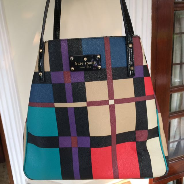 KATE SPADE Perry Street Plaid Sydney Tote Authentic Original Branded Handbag secondhomeshop
