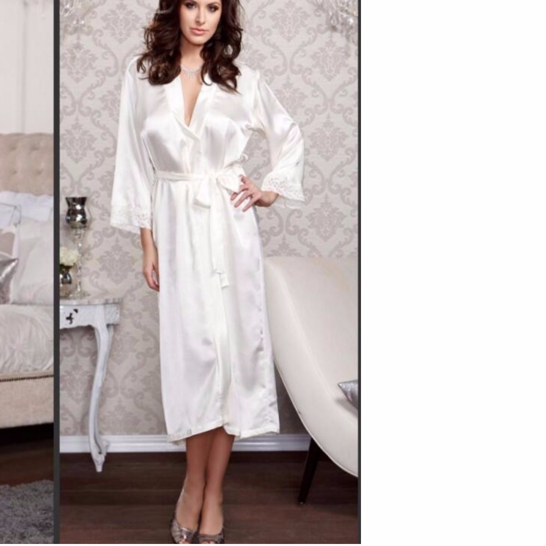 204b9817abd4 Korean Sexy Women s Satin Silk Lace Robe Dress Night Sleepwear 8-P1 ...