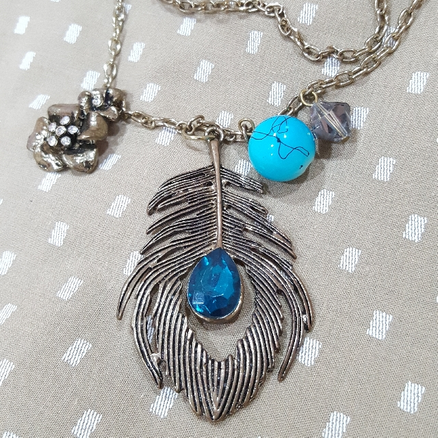 Metal Feather Long Chain Necklace